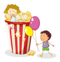 Kids and popcorn Stock Photography