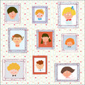 Kids portraits on the wall gallery funny illustration Stock Image