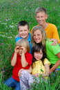 Kids posing in meadow Royalty Free Stock Images
