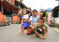 Kids posing on street of manado north sulawesi indonesia Royalty Free Stock Photography