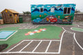 Kids pr school playground artwork cars with colorful bike track at grace place for children Royalty Free Stock Images