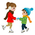 Kids practicing ice skate isolated illustration of who Stock Images