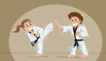 Kids practicing martial arts