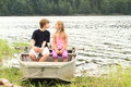 Kids in punt - first kiss Royalty Free Stock Photo