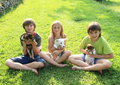 Kids with puppies two little boys and girl playing dogs Stock Images