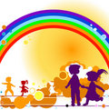 Kids and rainbow Stock Photo