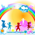 Kids and rainbow Royalty Free Stock Image
