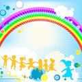 Kids and rainbow Stock Photography