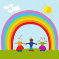 Kids on rainbow background Royalty Free Stock Photography