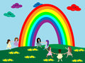 Kids and rainbow cute holding hands under the Royalty Free Stock Images