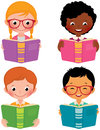 Kids read books stock vector cartoon illustration of of different nationalities Stock Image