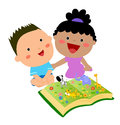 Kids reading book illustration of Royalty Free Stock Photography