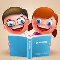 Kids reading book vector characters with happy smile for school