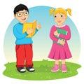 Kids Reading Book Vector Illustration