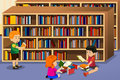 Kids reading a book vector illustration of in the library Stock Photos