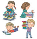 Kids reading books contains transparent objects eps Royalty Free Stock Images