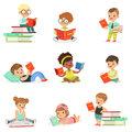 Kids Reading Books And Enjoying Literature Collection Of Cute Boys And Girls Loving To Read Sitting And Laying