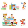 Kids Reading Books And Enjoying Literature Set Of Cute Boys And Girls Loving To Read Sitting And Laying Surrounded With