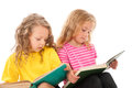 Kids reading books two little girls isolated on white Stock Photo