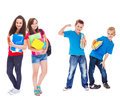 Kids ready for school group of with books Royalty Free Stock Photo