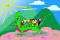 Kids riding the dragon - with clipping path Royalty Free Stock Images
