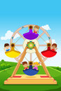 Kids riding a ferris wheel vector illustration of happy Royalty Free Stock Photography