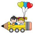 Kids riding a pencil car illustration of funny back to school Royalty Free Stock Image