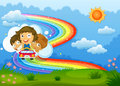 Kids riding on a vehicle passing through the rainbow illustration of Royalty Free Stock Photo