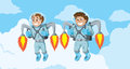 Kids with rocket packs flying Royalty Free Stock Images