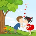 Kids romance cartoon little boy and girl kissing Royalty Free Stock Photo