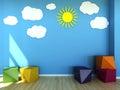 Kids room interior scene d Royalty Free Stock Photo