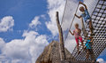 Kids on rope ladder Royalty Free Stock Photo