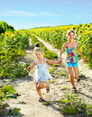 Kids running across field outdoor. Royalty Free Stock Photo