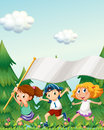 Kids running with an empty banner Royalty Free Stock Photo