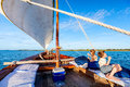 Kids sailing in dhow Royalty Free Stock Photo
