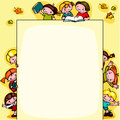 Kids school background yellow place for text Stock Photo