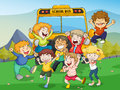 Kids and school bus Royalty Free Stock Photography