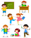 Kids at school set of doing different things Royalty Free Stock Photo