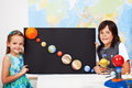 Kids in science class study the solar system Royalty Free Stock Photo
