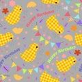Kids seamless background with chickens, garlands, happy birthday
