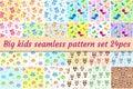 Kids seamless pattern big set. Children endless background with cute birds, owls, teddy bear.