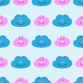 Kids seamless pattern with cute smiling clouds. Funny print for children. Vector illustration.