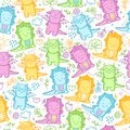 Kids seamless pattern with dinosaurs and funny doodle.