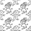 Kids seamless pattern doodle Stock Image