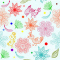 Kids seamless pattern with flowers in vector Royalty Free Stock Images
