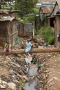 Kids and sewage, Kibera Kenya Royalty Free Stock Image