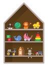 Kids shop, shelf with toys. Colorful childish illustration.