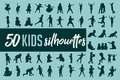 Kids silhouette collection vector