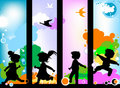 Kids silhouettes Royalty Free Stock Photos