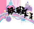 Kids silhouettes Stock Images